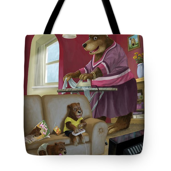 front room bear family son playing computer game Tote Bag by Martin Davey
