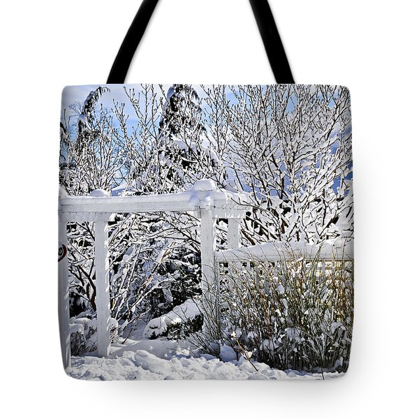 Front Yard Of A House In Winter Tote Bag by Elena Elisseeva