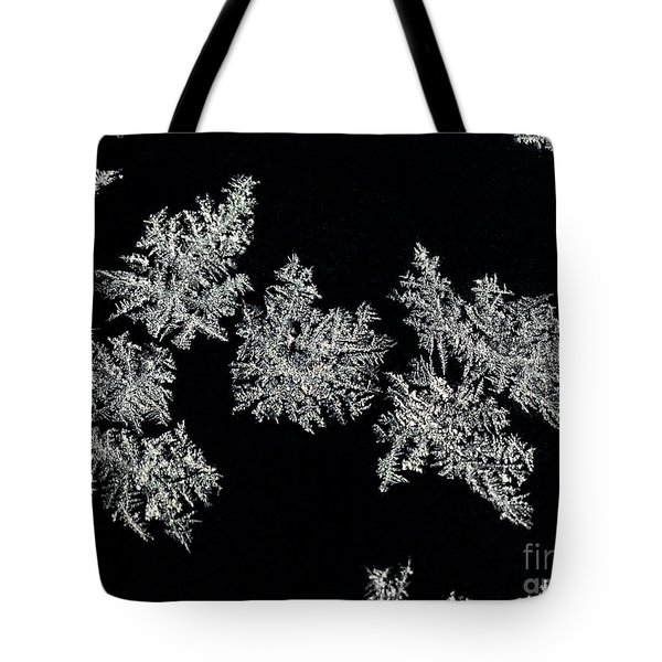 Frosty Snowflakes Tote Bag by Mariola Bitner