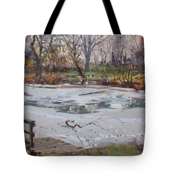 Frozen Pond Tote Bag by Ylli Haruni