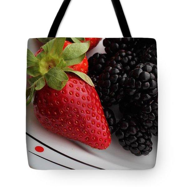 Fruit II - Strawberries - Blackberries Tote Bag by Barbara Griffin