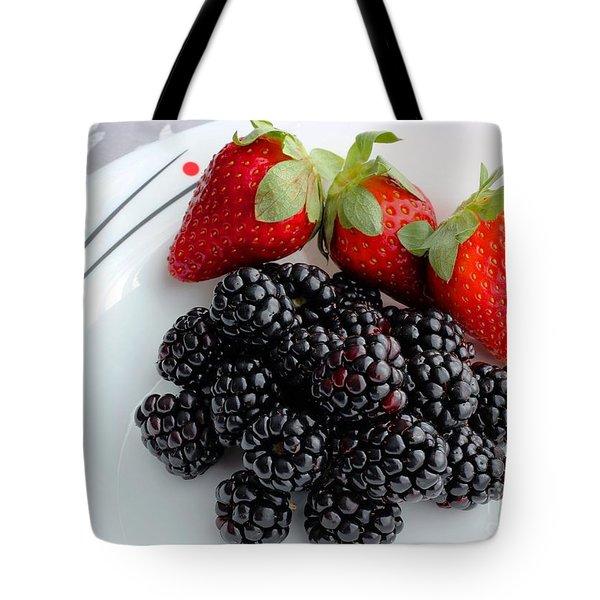 Fruit iv - Strawberries - Blackberries Tote Bag by Barbara Griffin