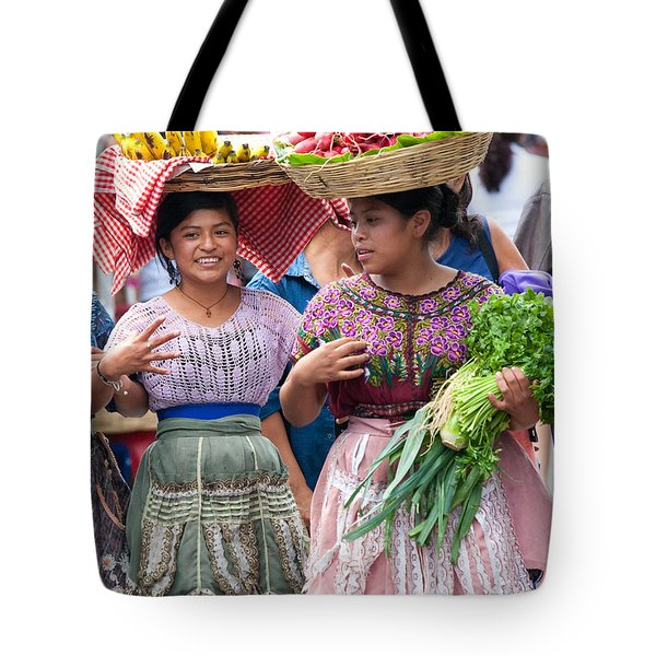 Fruit Sellers In Antigua Guatemala Tote Bag by David Smith