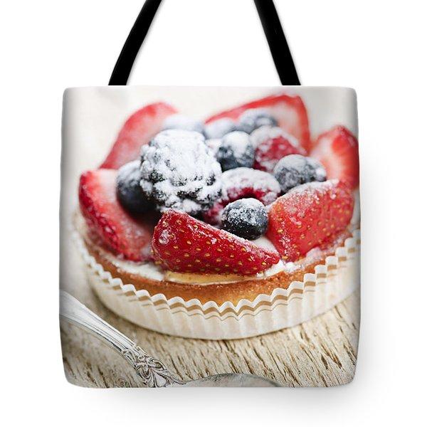 Fruit Tart With Spoon Tote Bag by Elena Elisseeva