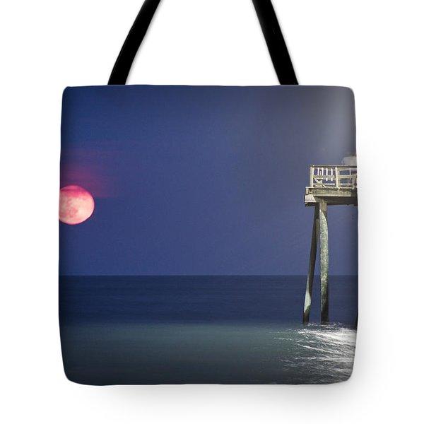 Full Moon At Carolina Beach Pier Tote Bag by Phil Mancuso