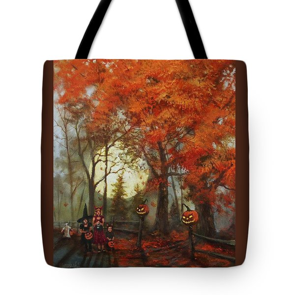 Full Moon On Halloween Lane Tote Bag by Tom Shropshire