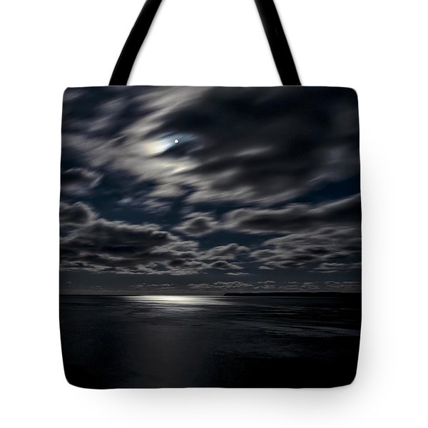 Full Moon On The Bay Of Fundy Tote Bag by Marty Saccone