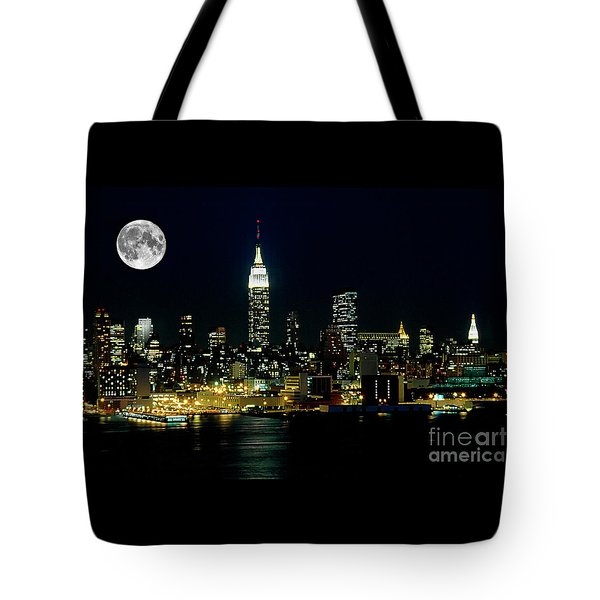 Full Moon Rising - New York City Tote Bag by Anthony Sacco