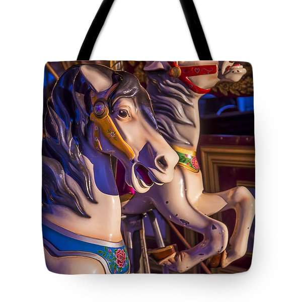 Fun Ride carousel Horses Tote Bag by Garry Gay