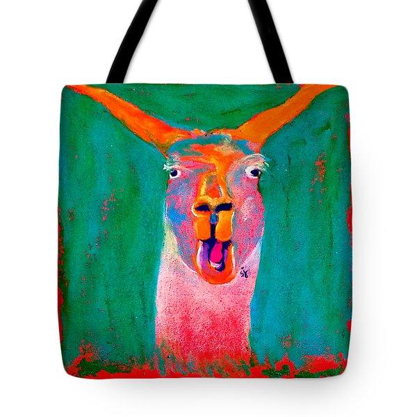 Funky Llama Art Print Tote Bag by Sue Jacobi