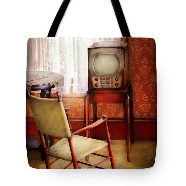 Furniture - Chair - The Invention Of Television  Tote Bag by Mike Savad