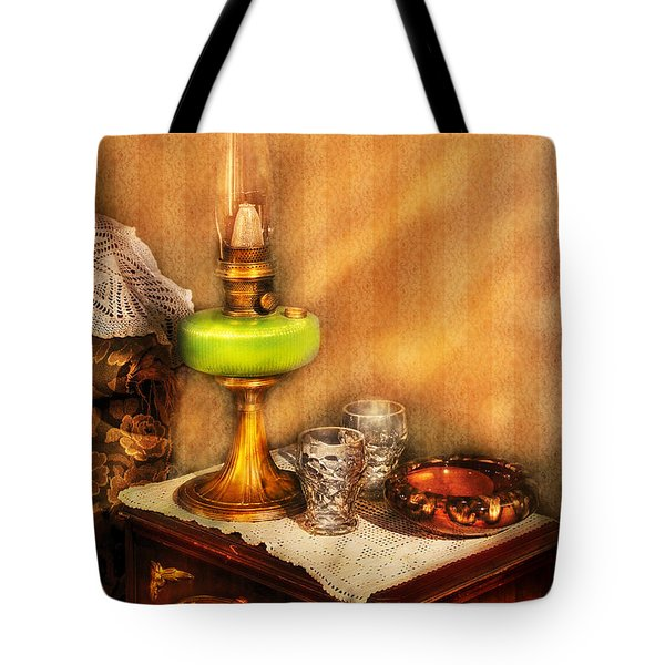Furniture - Lamp - The Gas Lamp Tote Bag by Mike Savad