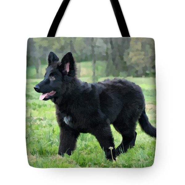 Furry Puppy Tote Bag by Sandy Keeton
