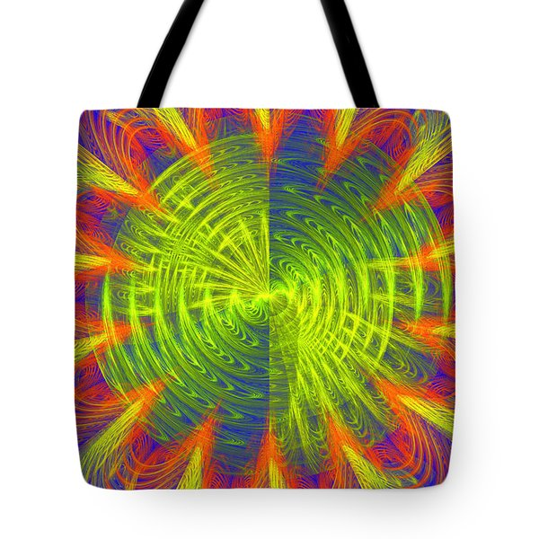 Futuristic Disc Blue Red And Yellow Fractal Flame Tote Bag by Keith Webber Jr