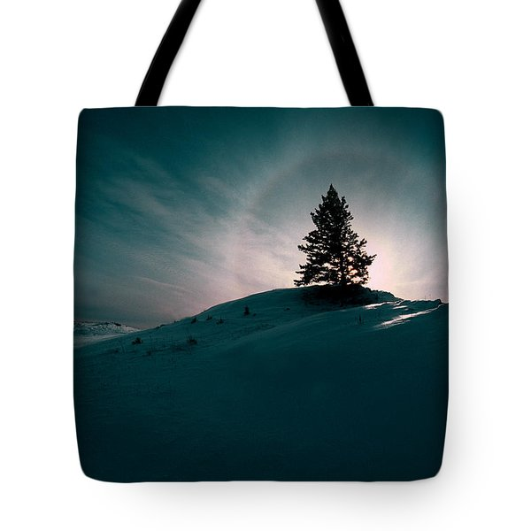 Fv4157, Will Datene Pine Tree On A Hill Tote Bag by Will Datene