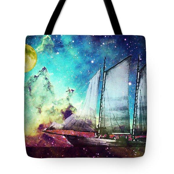 Galileo's Dream - Schooner Art By Sharon Cummings Tote Bag by Sharon Cummings