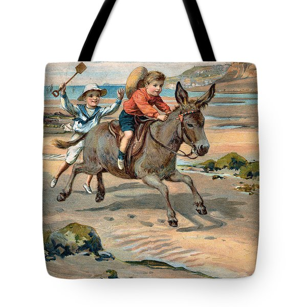 Galloping Donkey At The Beach Tote Bag by Unknown