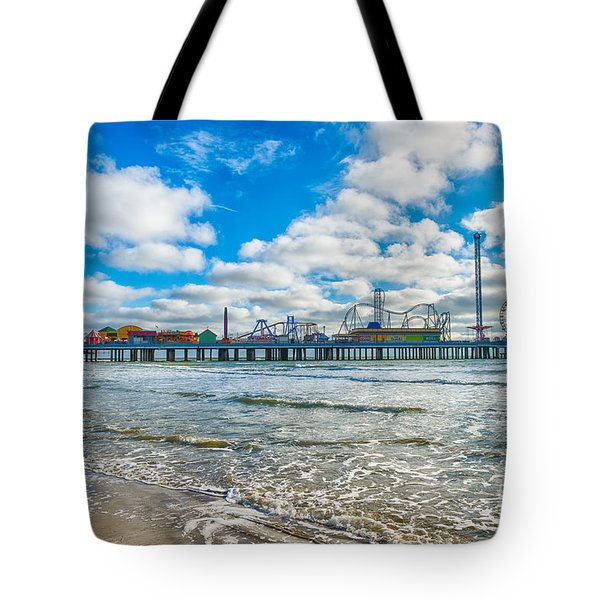 Galveston Pleasure Pier Over Gulf Tote Bag by Tod and Cynthia Grubbs