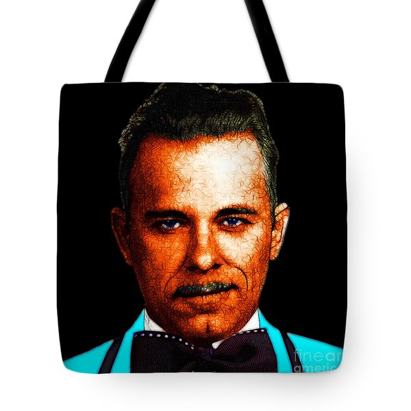 Gangman Style - John Dillinger 13225 - Black - Color Sketch Style Tote Bag by Wingsdomain Art and Photography