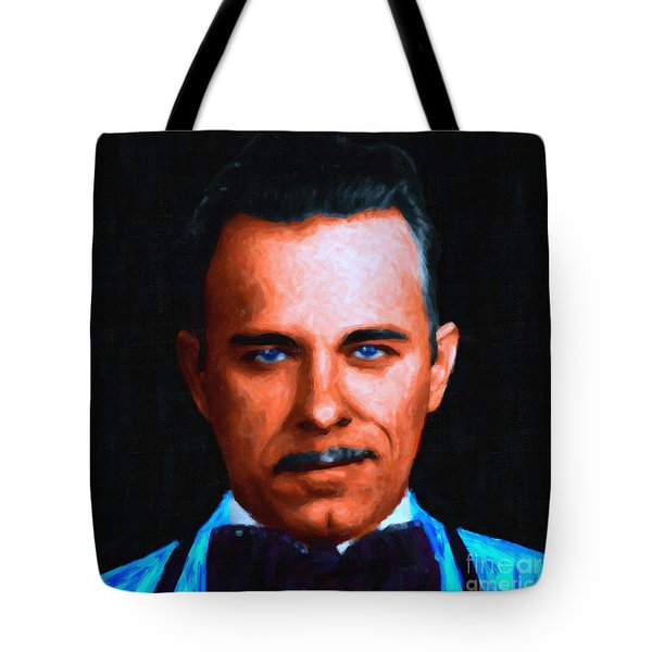 Gangman Style - John Dillinger 13225 - Black - Painterly Tote Bag by Wingsdomain Art and Photography
