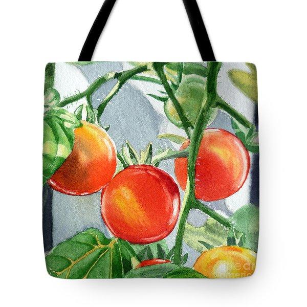 Garden Cherry Tomatoes  Tote Bag by Irina Sztukowski