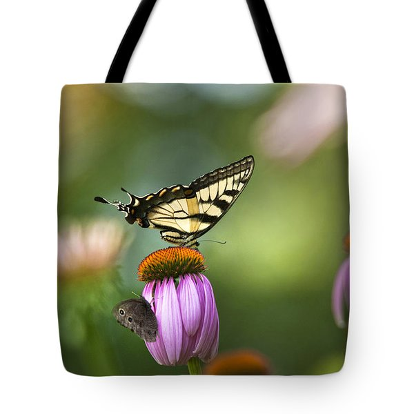 Garden Rainbow Butterfly Tote Bag by Christina Rollo