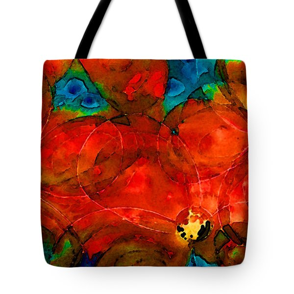 Garden Spirits - Vibrant Red Flowers By Sharon Cummings Tote Bag by Sharon Cummings