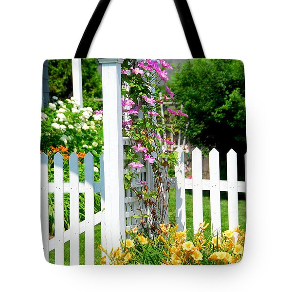 Garden with picket fence Tote Bag by Elena Elisseeva