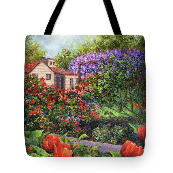 Garden With Tulips And Wisteria Tote Bag by Susan Savad