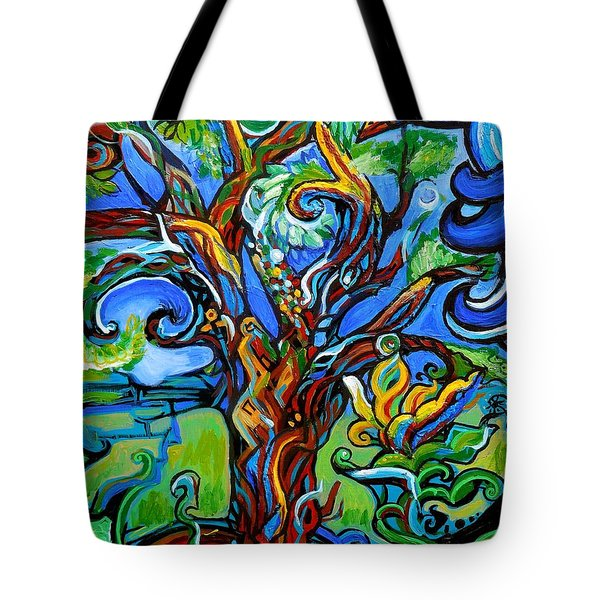 Gargoyle Tree With Crow Tote Bag by Genevieve Esson