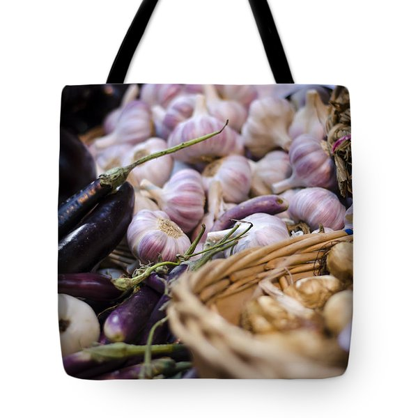 Garlic At The Market Tote Bag by Heather Applegate