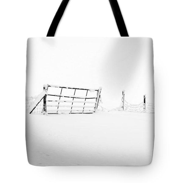 Gate In Snow Tote Bag by Anne Gilbert