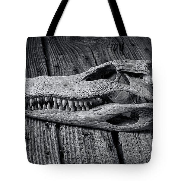 Gator Black And White Tote Bag by Garry Gay