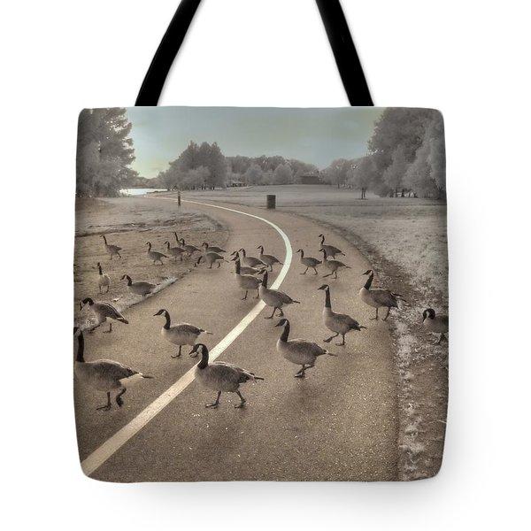 Geese Crossing Tote Bag by Jane Linders