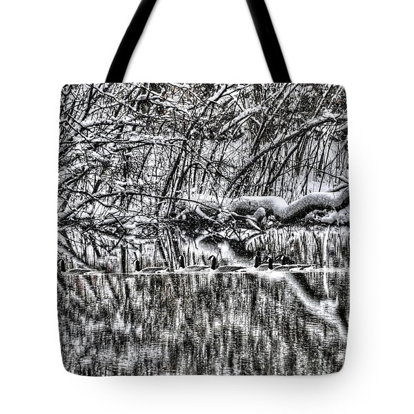 Geese On Pond Black And Wihite Tote Bag by Dan Friend