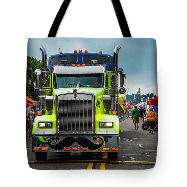 Geico Truck Straight On Tote Bag by Grace Grogan