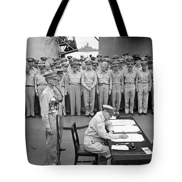 General Macarthur Signing The Japanese Surrender Tote Bag by War Is Hell Store