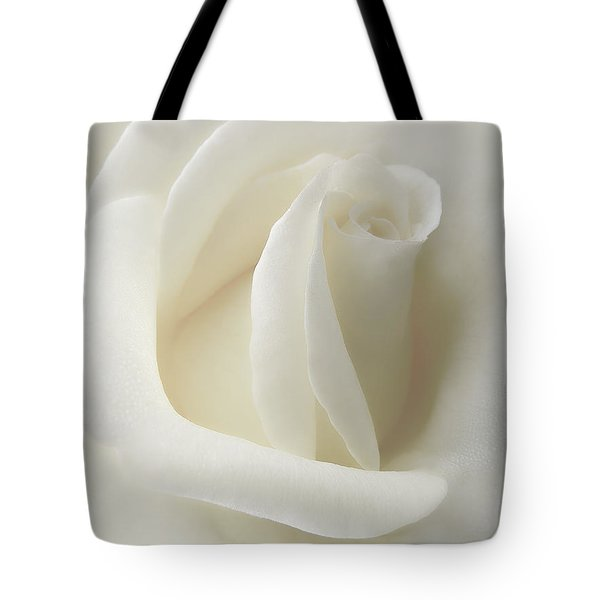 Gentle White Rose Flower Tote Bag by Jennie Marie Schell