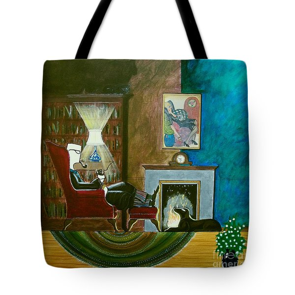 Gentleman Sitting In Wingback Chair Enjoying A Brandy Tote Bag by John Lyes