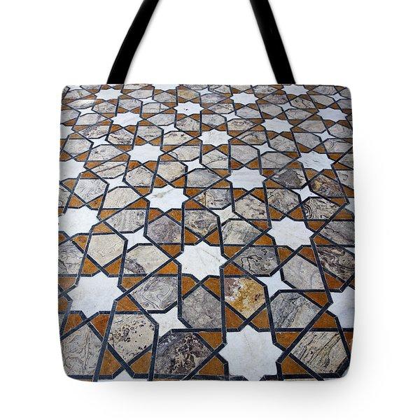 Geometric Marble Floor Design at Lahore Fort Tote Bag by Robert Preston