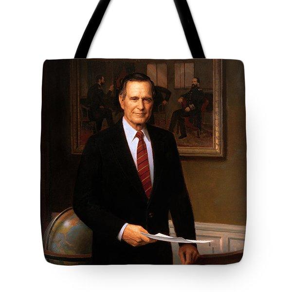 George HW Bush Presidential Portrait Tote Bag by War Is Hell Store