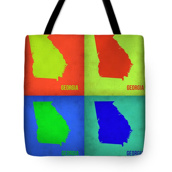 Georgia Pop Art Map 1 Tote Bag by Naxart Studio