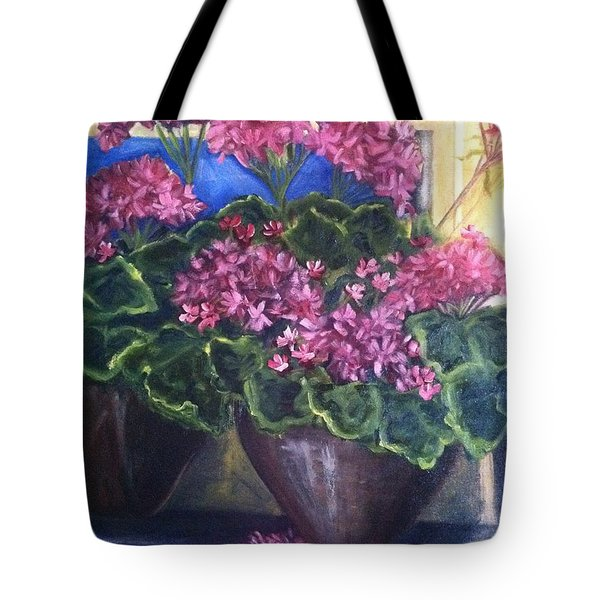 Geraniums Blooming Tote Bag by Sherry Harradence