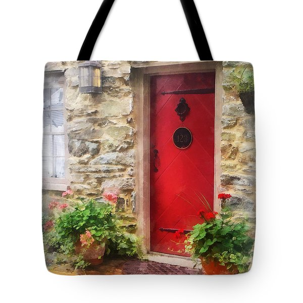 Geraniums by Red Door Tote Bag by Susan Savad