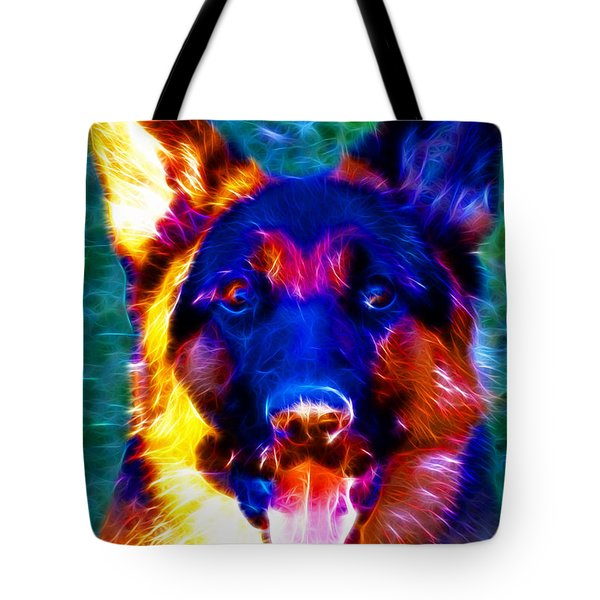 German Shepard - Electric Tote Bag by Wingsdomain Art and Photography