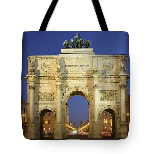 Germany Bavaria Munich Siegestor Tote Bag by Tips Images
