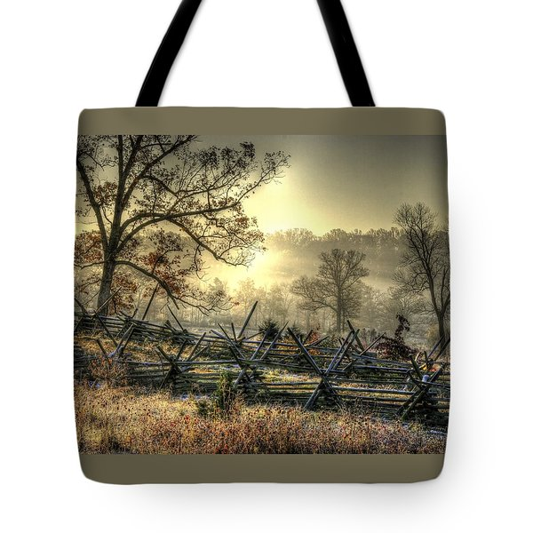 Gettysburg At Rest - Sunrise Over Northern Portion Of Little Round Top Tote Bag by Michael Mazaika