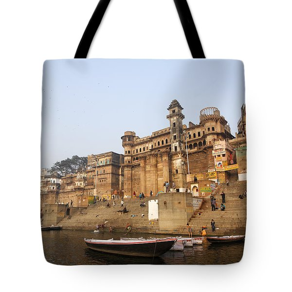 Ghats And Boats On The River Ganges At Varanasi In India Tote Bag by Robert Preston
