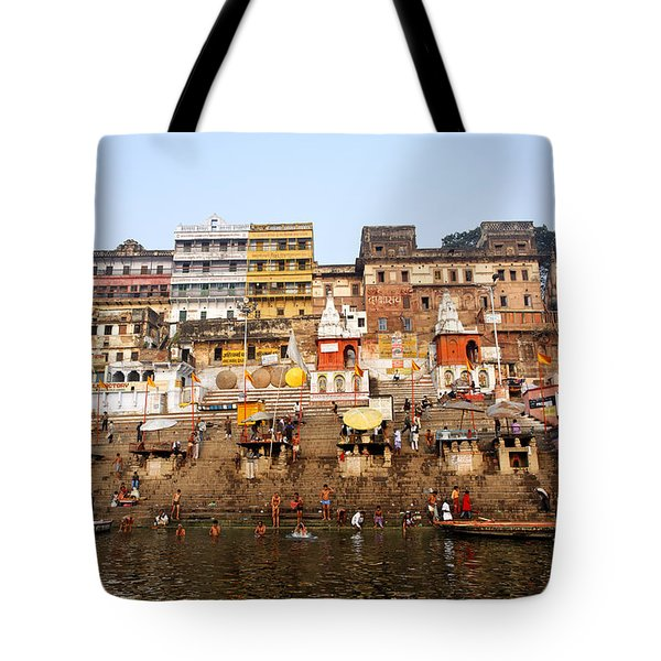 Ghats In The River Ganges At Varanasi In India Tote Bag by Robert Preston