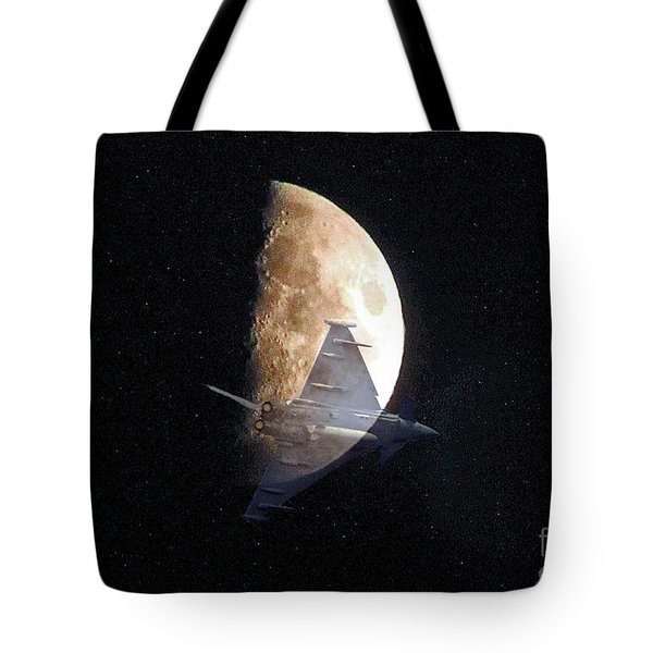 Ghostly Eurofighter against a full moon Tote Bag by Peter McHallam